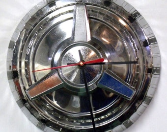 1960's Ford Spinner Hubcap Clock - Automotive Wall Clock - 4th July - Red White Blue