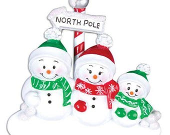 Personalized Snowmen family of 3 Christmas Ornament