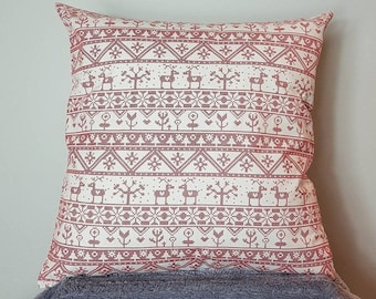 "Scandinavian style print cushion cover, cross stitch patterened cushion cover. 18"" cushion cover. red and cream colour, double sided."