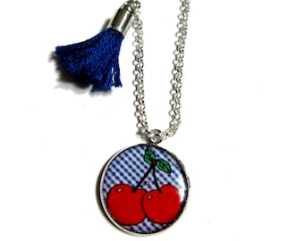 GIRL NECKLACE - Cherry Pendant Necklace - Necklace from Spring - Fruits Summer Necklace - Fruit Necklace for Girls