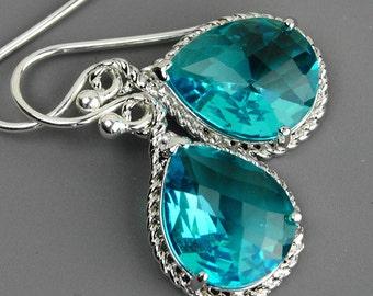 Bridesmaid Earrings Set of 5 Sea Green Earrings - Teal Blue Green Crystal Drop Earrings - Bridesmaid Gift - Wedding Party Jewelry