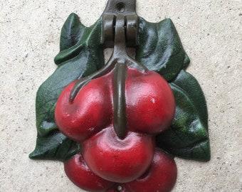 Old Vintage Cast Iron Painted Cherries Door Knocker L0318