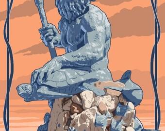 King Neptune Statue - Lantern Press Artwork (Art Print - Multiple Sizes Available)