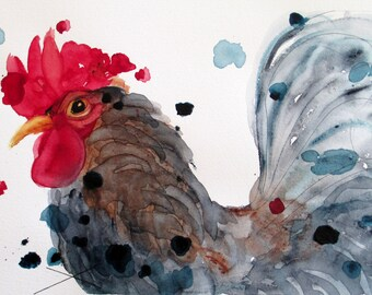 Art Print of Watercolor Rooster, Chicken Art, Large Rooster Art Print, Kitchen Decor, Modern Farm Decor
