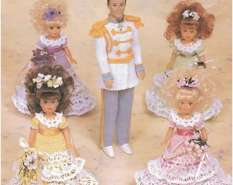 """Crochet doll clothes pattern """"Prince Charming and Flower girls"""" Annie Potter Presents"""