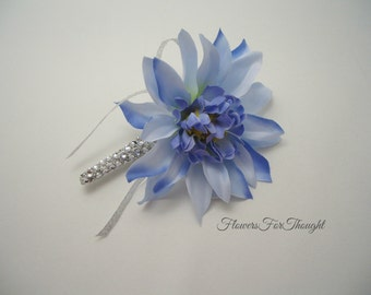 Blue Dahlia Boutonniere with Sparkly Silver Accent, Groomsmen Wedding Buttonhole Bloom, Mens Lapel Flower Pin