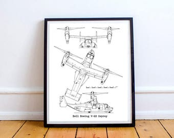 "Boeing V22 Osprey, Aircraft Blueprints, V-22 Osprey, Instant Download, Boeing, Marines, Blueprint Art, Osprey, Aviation Decor, 8x10"", 11x14"""
