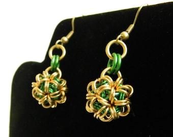 Green and Brass Japanese Ball Earrings