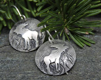 Sterling Silver Moose Earrings, Round Earrings, Wildlife Jewelry, Everyday Earrings, Made In New Hampshire, Moose lover Gift, Nature Gift
