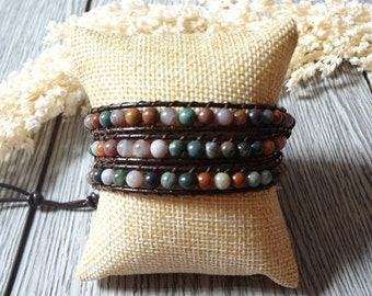 3 Wrap Agate Beaded Color Bead Simulated Leather Bracelet 598