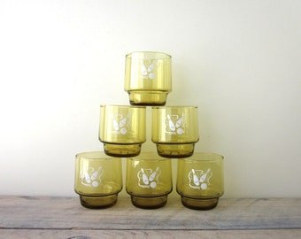 Mid Century Gold Bowling Cocktail Glasses Set of Six Barware