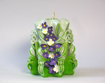 Carved candle candles hand made mother's day gift green flowers Candles carved unique gift spring candle lilac flower