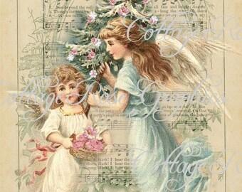 Pink Roses CHRISTMAS Angels vintage shabby cottage Large digital download ECS buy 3 get one free