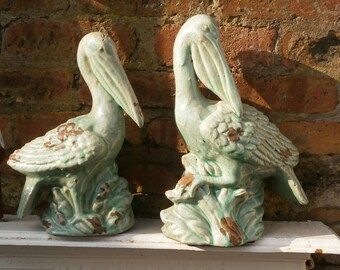 Pair Pottery, Green Glazed, Pelicans - Studio Art - Vintage