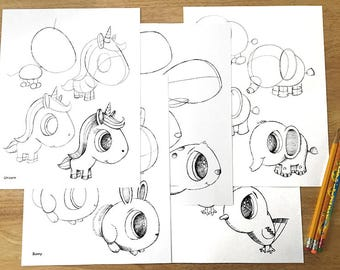How To Draw Cute Animals Worksheet Pages! Downloadable PDF file!