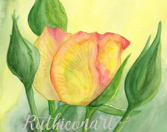 Yellow Roses Print from Original Watercolor