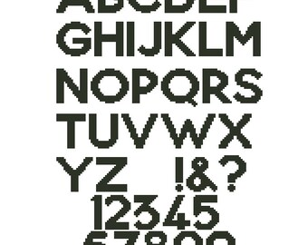Cross stitch alphabet pattern, embroidery pattern, 19 stitches tall, Capital letters and numbers, Pdf - PATTERN ONLY (Alph_16co)