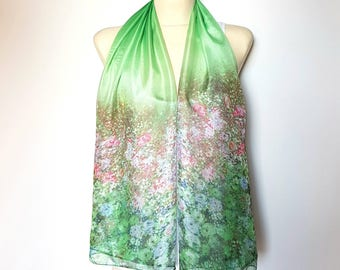 Pink and Green Silk Scarf Women Silk Green Shawl Spring Scarf for Women Floral Scarf Silk Women Scarves Summer Scarf Gift for Mother Outdoor
