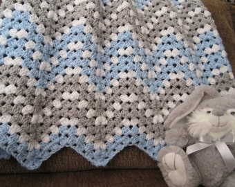 ripple baby boy blanket, chevron blanket, crochet baby boy blanket, blue and gray nursery decor, handmade blanket READY TO SHIP, photo prop