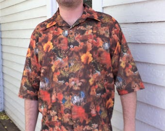 Vintage 70s Mens Print Shirt Casual Polyester Button Down XL