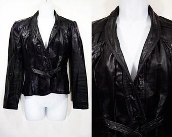 Vintage 80's Belted Black Leather Jacket XS