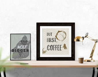 But First Coffee, Kitchen Art, Kitchen Decor, Coffee Shop Art, Typography Print, Printable File, DIY Art, Digital Download, Square Art Print