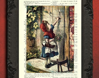Little red riding hood dictionary art print little red riding hood antique illustration little red riding hood in color