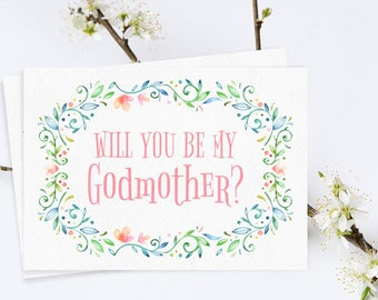 Will You Be My Godmother Card. Godmother Printables. Godmother Card. Godmother invitation. Godmother invite. New Baby. Baptism