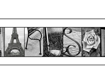 Alphabet photo letter art - Custom WEDDING GIFT by Kona B. Designs  - Black and White Print- 10x20 Unframed