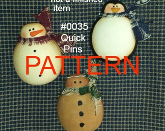 EPATTERN #0035 Quick Pins, tole painting patterns, snowman pattern, Christmas painting pattern, decorative painting, gingerbread pattern,