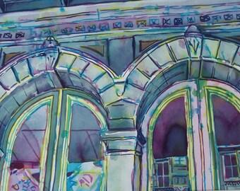 Original watercolor, 15 x 22, Emporium
