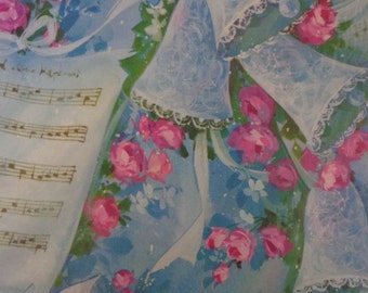 Vintage 1960s Wedding Gift Wrap--Blue Bells, Pink Roses & Music- 2 Sheets New in Package Wedding Wrapping Paper