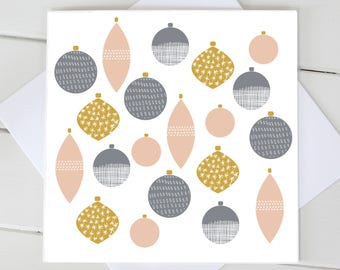 Simple Scandi Christmas Decorations Baubles Xmas Blank Card