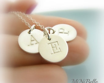 """Three Initial Charms Necklace. Personalized Letter Necklace. Monogram Necklace. Mom Initial Necklace. 1/2"""" Initial Necklace"""