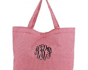 Gingham Tote, Gingham Purse, Gingham Handbag, Gingham Baby Bag, Personalized Tote Bag, Monogram Tote Bag, Gingham Red Tote Bags