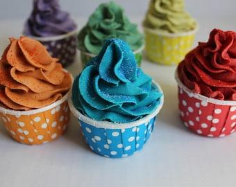 Sugar And Starch Free Frosted Bubble Bath Bomb Cupcake /  Bath Bomb Cupcake / Moisturizing Skin Loving Bath Bomb Fizzy