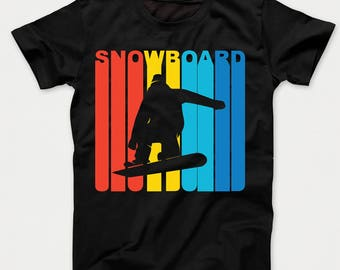 Retro 1970's Style Snowboarder Silhouette Snowboarding Kids T-Shirt