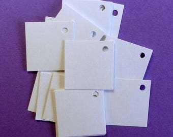 100 mini tags jewelry tags square tags white tags w string price tags hang tags boutique tags blank tags craft supplies merchandise tags