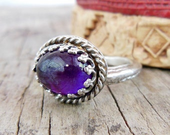 Silver Amethyst Ring, Purple Amethyst Ring, Amethyst Jewelry, Twig statement ring, Size 5.5, Sterling Silver Gemstone Ring