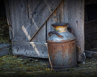 Vintage Milk Can Print, Milk Can Art, Creamery Can, Barn Door, Prairie Homestead, Badlands, South Dakota, Fine Art, Still Life Photograph