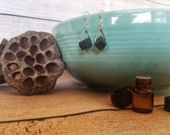 Lava stone earrings, diffuser earrings, aromatherapy earrings, essential oil diffuser jewelry