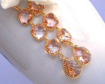 Wedding Jewelry, Peach Earrings, Gold, Blush, Champagne, Bridesmaid Jewelry, Bridesmaids Earrings, Dangle, Long Earrings, Wedding Earrings