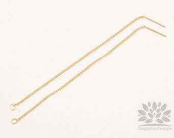 E313-G// Gold Plated Chain Earring, 4pcs