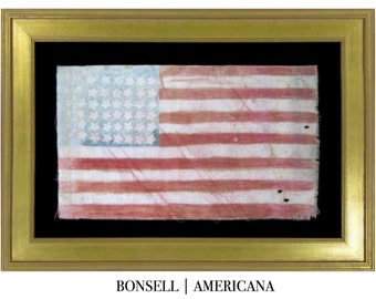 48 Star Handmade Antique Flag with Painted Features and Interesting Canted Stars   Circa 1900-1912