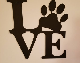 Paw Love CNC Plasma Cut Metal Wall Art,Home Decor,Gift for Animal Lovers,Dog Art