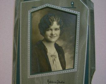 Twenties Girl - Antique Original 1920s Flapper Girl Cabinet Card Art Deco Black and White Photograph