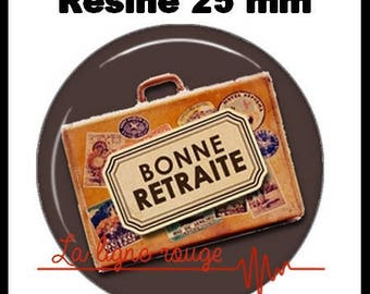 Round cabochon resin 25 mm - happy retirement stick (2141) - text, Word, craft