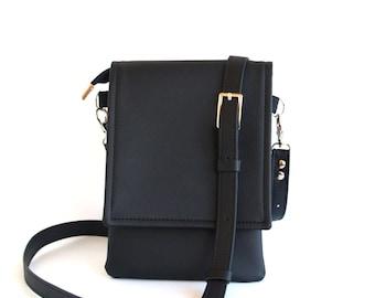 Black Small Crossbody Bag Leather Bag Cell Phone Bag Crossbody Phone Case Cell Phone Purse IPhone Wallet Purse Small Travel Bag Phone Bag