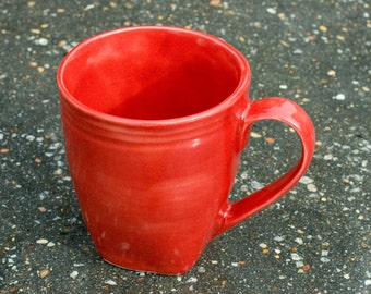 16 oz Mug - Gloss Red in and outside of cup - High Fire stone ware