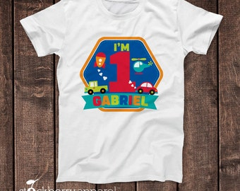 Transportation Birthday Shirt - Planes Trains and Automobiles Baby Bodysuit - Boy First Birthday Shirt - Personalized 1st Birthday T Shirt